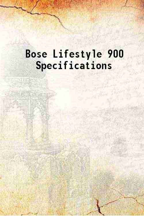 Bose Lifestyle 900 Specifications